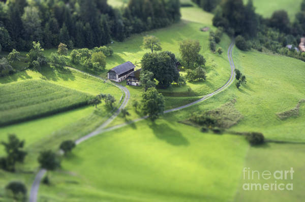 Wall Art - Photograph - Tilt Shift Aerial View Of Agricultural by Bildagentur Zoonar Gmbh