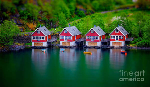 Wall Art - Photograph - Tilt Shift Effect On Some Boat Houses by Shaunwilkinson