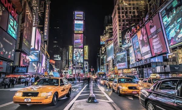Times Square At Night With Famous Nyc Art Print by Ed Norton
