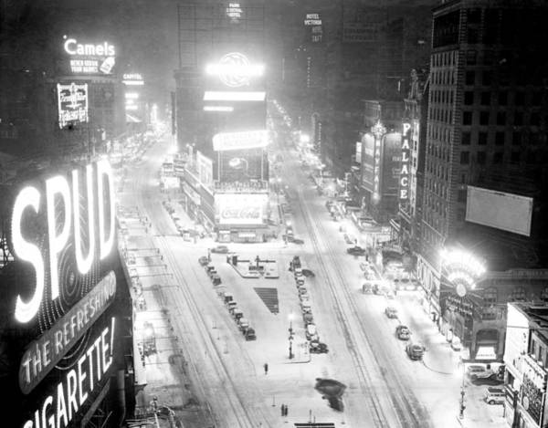 Time Square Wall Art - Photograph - Times Square Is Covered In A White by New York Daily News Archive