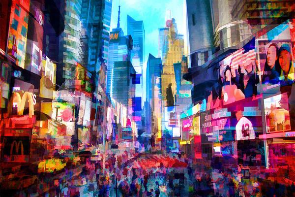 Midtown Manhattan Digital Art - Times Square Montage by Tim Palmer