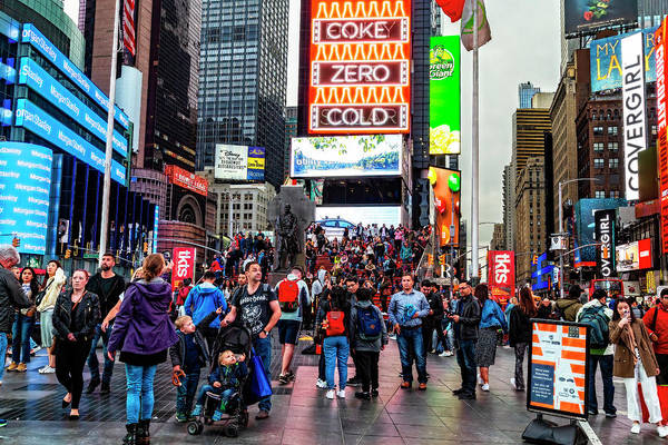 Wall Art - Photograph - Times Square, People, Lights, Action by Kay Brewer
