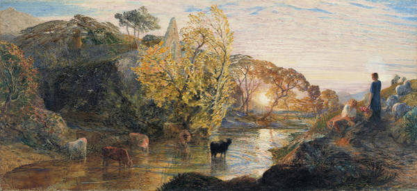 Wall Art - Painting - Tintern Abbey At Sunset - Digital Remastered Edition by Samuel Palmer