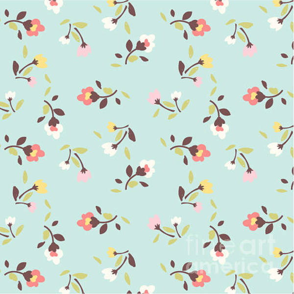 Wall Art - Digital Art - Tiny Floral Pattern On Green Background by Lufei