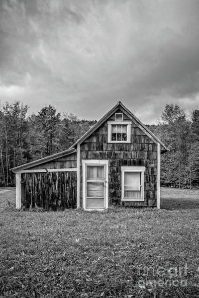 Wall Art - Photograph - Tiny House Vermont Black And White by Edward Fielding