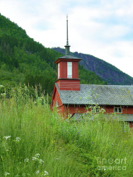 Wall Art - Photograph -  Tiny Old Fjord Church by Norma Brandsberg