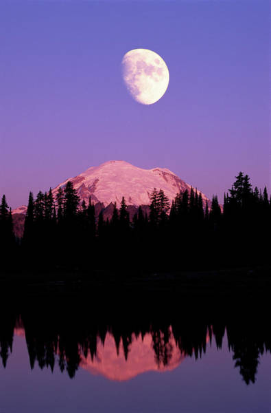 Wall Art - Photograph - Tipsoo Lake And Full Moon At Mount by Steve Satushek