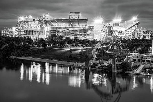 Photograph - Titans Football Stadium On The River - Nashville Tennessee Monochrome by Gregory Ballos
