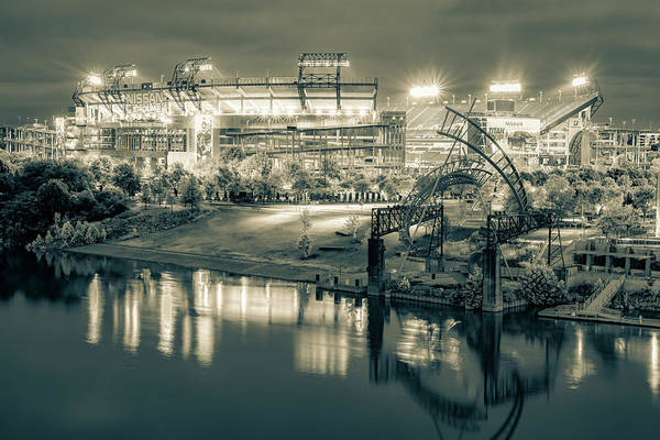 Photograph - Titans Football Stadium On The River - Nashville Tennessee Sepia by Gregory Ballos
