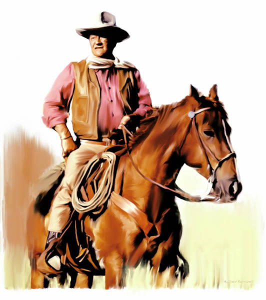 Wall Art - Painting - Tjohn Wayne The Duke  by Iconic Images Art Gallery David Pucciarelli