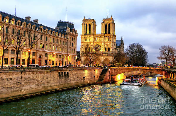 Photograph - To Notre Dame At Night In Paris by John Rizzuto