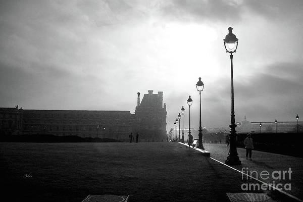 Rights Managed Images Wall Art - Photograph - To The Tuileries Paris Lamps Bw by Felipe Adan Lerma