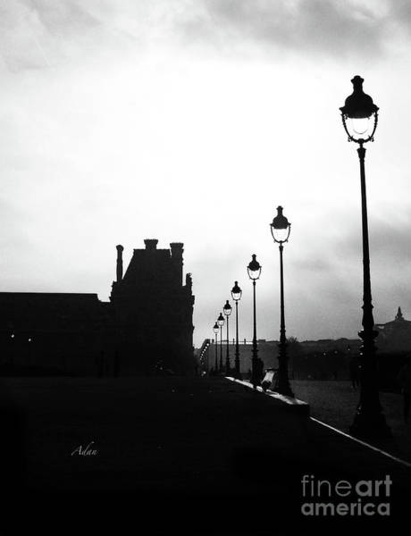 Rights Managed Images Wall Art - Photograph - To The Tuileries Paris Lamps Bw Vertical by Felipe Adan Lerma