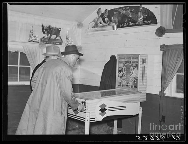 Wall Art - Photograph - Tobacco Buyers Playing Pinball by Edward Fielding