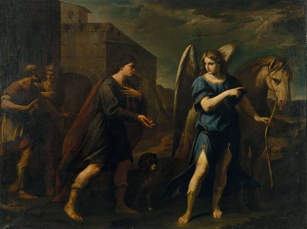 Wall Art - Painting - Tobias Meets The Archangel Raphael  by Andrea Vaccaro