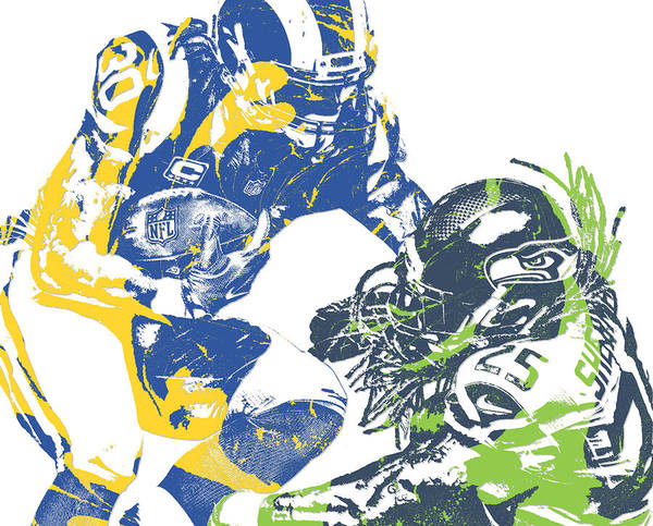 Wall Art - Mixed Media - Todd Gurley Rams Richard Sherman Seahawks Pixel Art 2 by Joe Hamilton