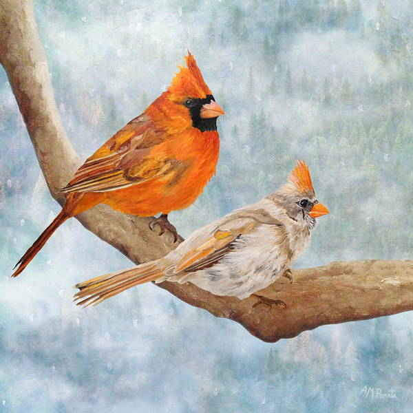 Cardinal Mixed Media - Together Above All by Angeles M Pomata