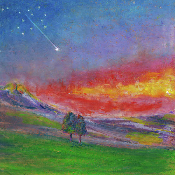 Wall Art - Pastel - Together Under Shooting Stars. by Elena Sysoeva