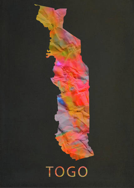 Wall Art - Mixed Media - Togo Tie Dye Country Map by Design Turnpike