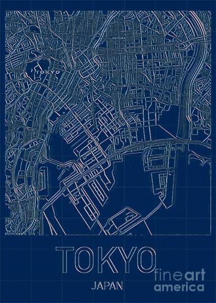 Digital Art - Tokyo Blueprint City Map by Helge