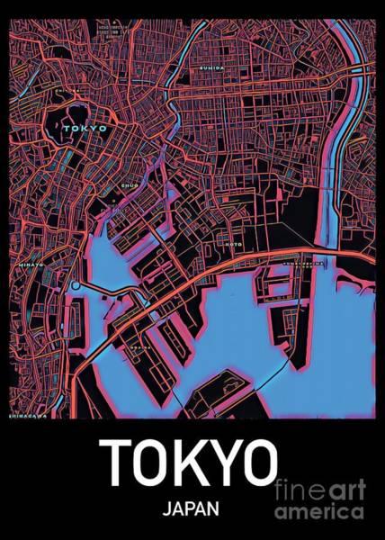 Digital Art - Tokyo City Map by Helge