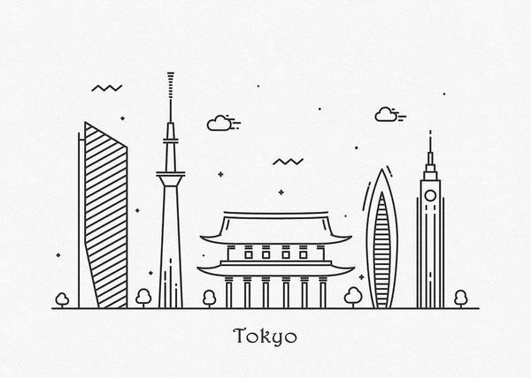 Wall Art - Drawing - Tokyo Cityscape Travel Poster by Inspirowl Design