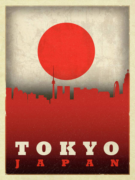 Wall Art - Mixed Media - Tokyo Japan City Skyline Flag by Design Turnpike