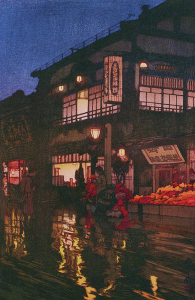 Wall Art - Painting - Tokyo Junidai, Kagurazaka Street-rainy Night - Digital Remastered Edition by Yoshida Hiroshi