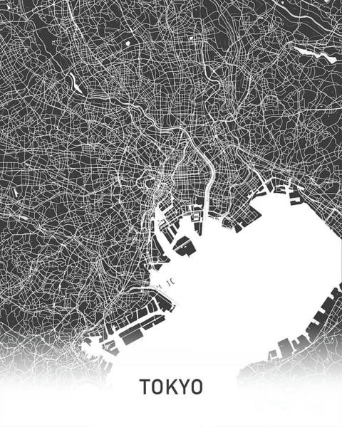 Wall Art - Photograph - Tokyo Map Balck And White by Delphimages Photo Creations