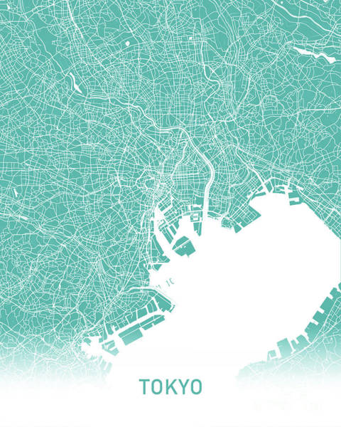 Wall Art - Digital Art - Tokyo Map Teal by Delphimages Photo Creations