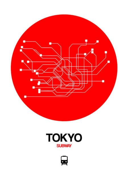 Wall Art - Digital Art - Tokyo Red Subway Map by Naxart Studio