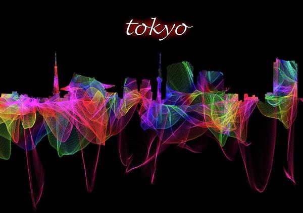Photograph - Tokyo Skyline Art With Script by Debra and Dave Vanderlaan