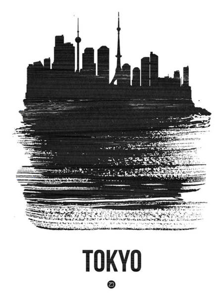 Wall Art - Mixed Media - Tokyo Skyline Brush Stroke Black by Naxart Studio