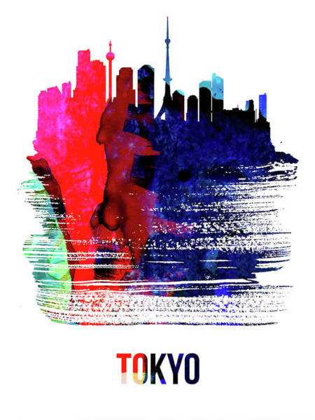 Wall Art - Mixed Media - Tokyo Skyline Brush Stroke Watercolor   by Naxart Studio