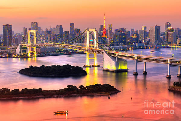 Wall Art - Photograph - Tokyo Skyline With Tokyo Tower And by Luciano Mortula - Lgm