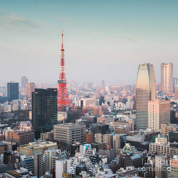 Wall Art - Photograph - Tokyo Tower And City At Sunrise, Japan by Matteo Colombo