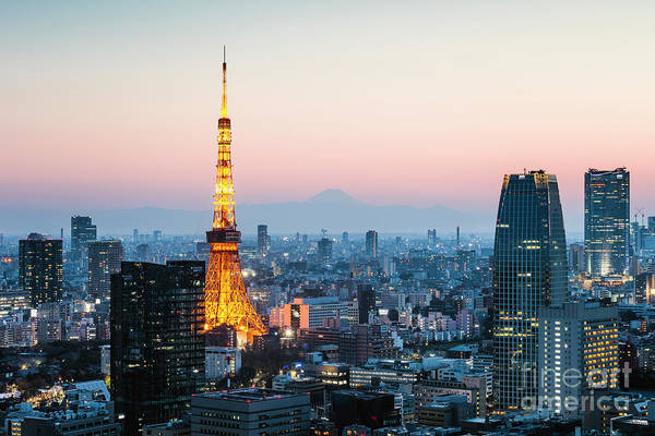 Wall Art - Photograph - Tokyo Tower And City At Sunset, Japan by Matteo Colombo