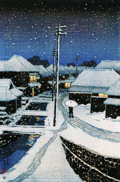 Wall Art - Painting - Tokyo Twelve Collection, Evening Snow At Terajima Village - Digital Remastered Edition by Kawase Hasui