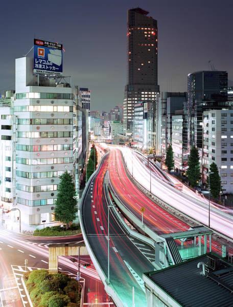 Tokyo, Urban Expressway At Night Art Print