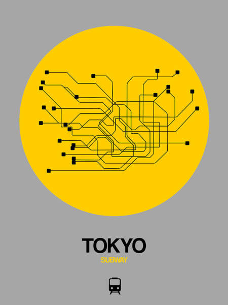 Wall Art - Digital Art - Tokyo Yellow Subway Map by Naxart Studio