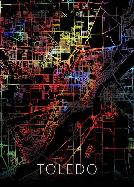 Wall Art - Mixed Media - Toledo Ohio Watercolor City Street Map Dark Mode by Design Turnpike