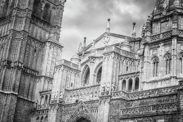 Photograph - Toledo Spain Cathedral Facade Bw by Joan Carroll