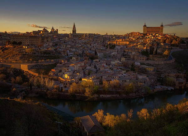 Photograph - Toledo Spain Cityscape At Dusk by Joan Carroll