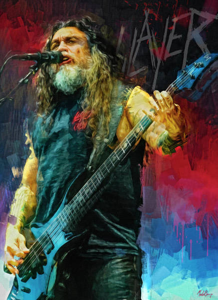 Jeff Hanneman Wall Art - Mixed Media - Tom Araya, Slayer by Mal Bray