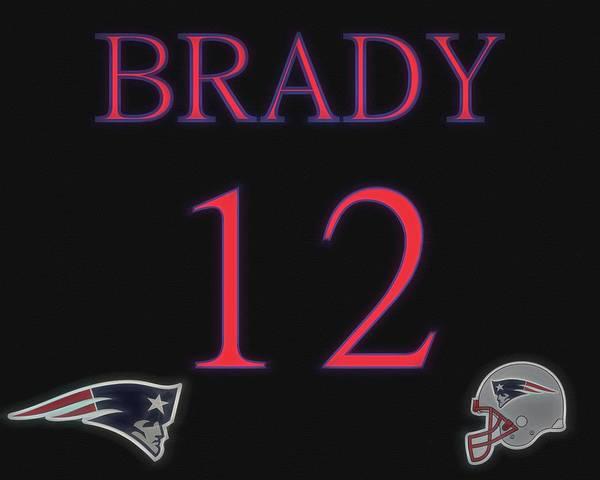 Mixed Media - Tom Brady Jersey by Dan Sproul