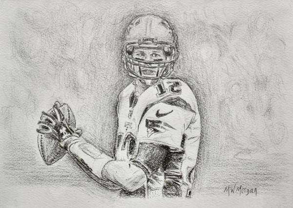 Super Bowl Drawing - Tom Brady by Michael Morgan