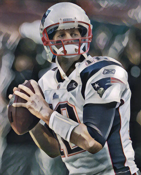 Wall Art - Mixed Media - Tom Brady New England Patriots Abstract Art 5 by Joe Hamilton