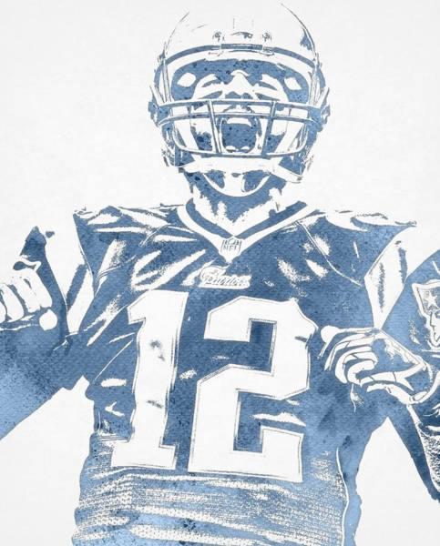 Wall Art - Mixed Media - Tom Brady New England Patriots Water Color Pixel Art 31 by Joe Hamilton
