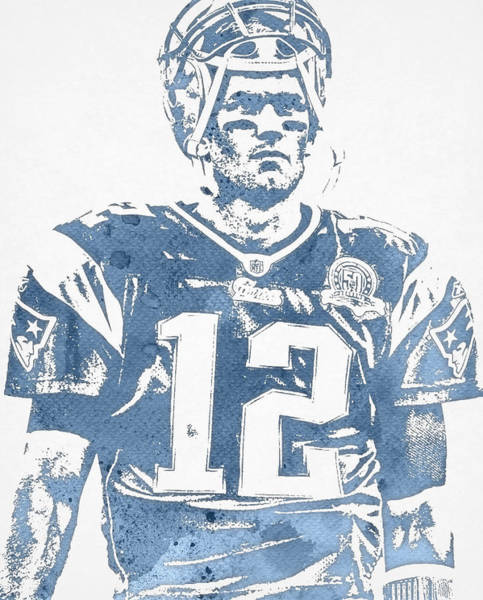 Wall Art - Mixed Media - Tom Brady New England Patriots Water Color Pixel Art 32 by Joe Hamilton