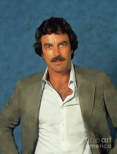 Restored Wall Art - Painting - Tom Selleck, Actor by John Springfield